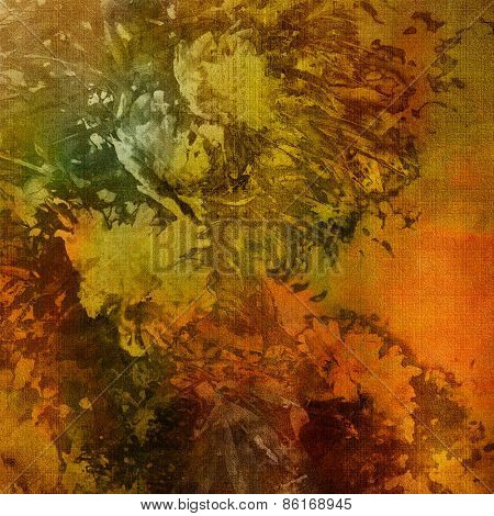art colorful grunge floral watercolor paper textured background with peonies in gold, orange and green colors