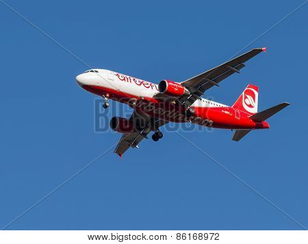 Red And White Passenger Aircraft Airbus A320