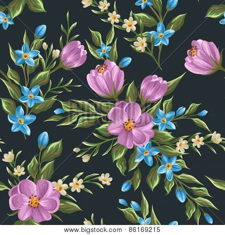 Gentle floral seamless pattern  in watercolor style
