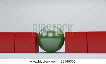 Green Sphere Standing Out In The Red Cubes Concept