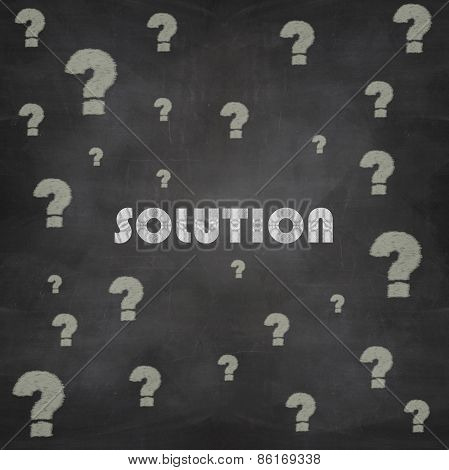 Question Mark And Solution Drawn In Chalk On A Blackboard