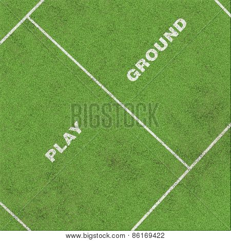 Playground With Area And Text On Grass