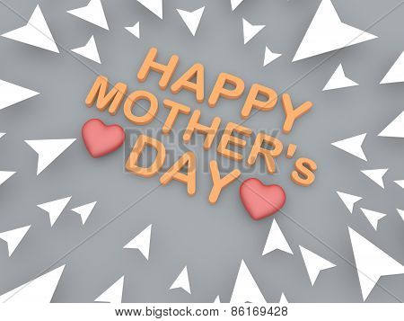 3D Text Of Happy Mothers Day With Heart Shape Object