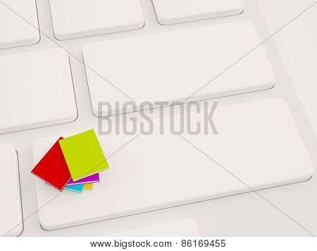 Stack Of Book On Keyboard. 3D Illustration