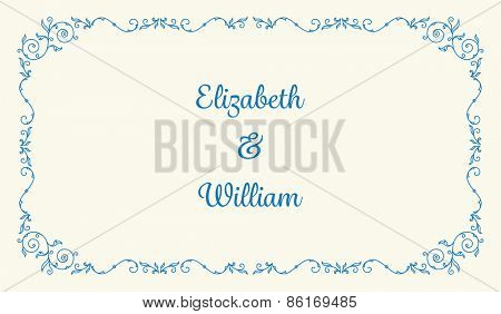 Letterpress wedding invitation card template with floral ornaments and custom ampersand. Vector illustration