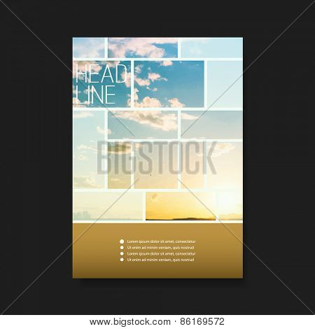 Business Flyer or Cover Design with Sunset Photo - Corporate Identity Design Template