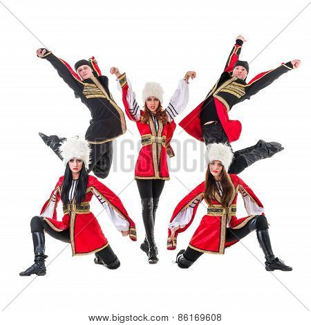 dancer team wearing a folk Caucasian highlander costumes