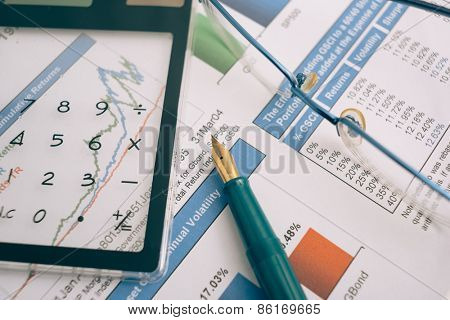 Business presentation with finance  chart on the desk.