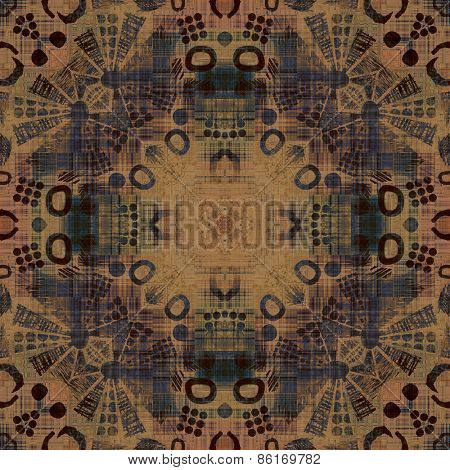 art deco ornamental vintage pattern, S.7, monochrome background in beige brown  and blue green colors
