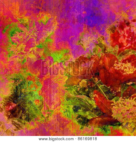 art colorful grunge floral watercolor paper textured background with peonies in fuchsia, coral red, orange, gold, lilac and green colors