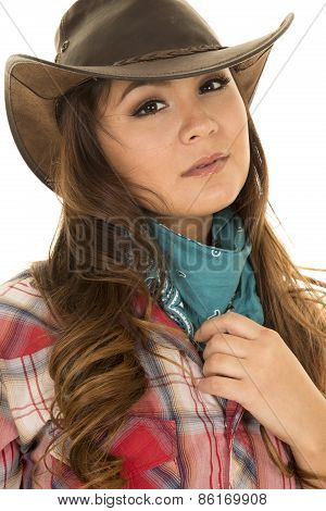 Cowgirl Red Plaid Shirt Close Serious
