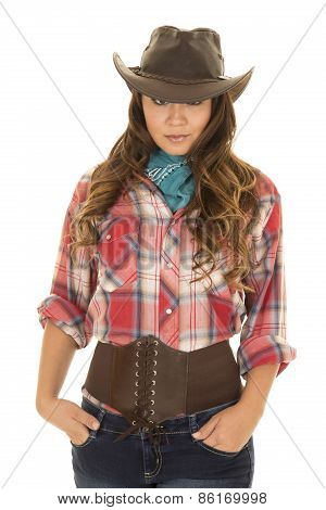 Cowgirl Red Plaid Shirt Eyes Look From Under Hat