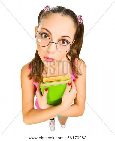 Funny schoolgirl with books isolated