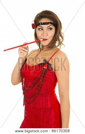 Flapper Girl In Red With Cigarette In Mouth Look Side