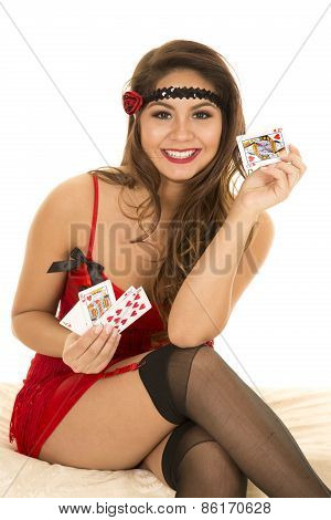 Flapper Girl With Cards Royal Flush Smile