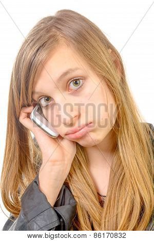 A Girl With A Phone Is Unhappy
