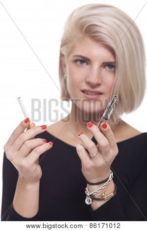 Blond Woman Holding A Tobacco And E-cigarette