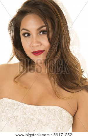Woman In A Wedding Dress Up Close Looking Wearing Veil