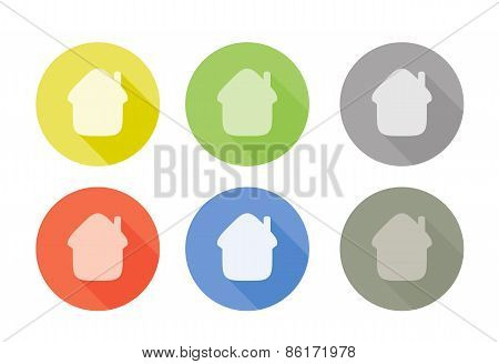 Collection of home symbol rounded icons with shadow different colors
