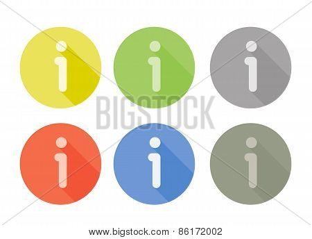 Collection of information symbol rounded icons with shadow different colors