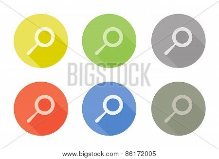 Collection of search symbol rounded icons with shadow different colors