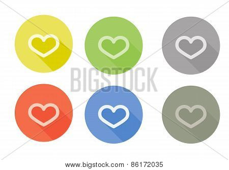 Collection of heart symbol rounded icons with shadow different colors