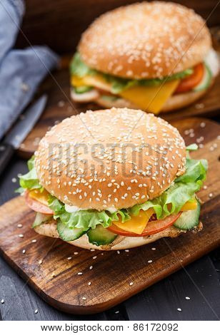 Cesare burger on wooden board