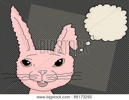 Pink Thinking Rabbit Cartoon