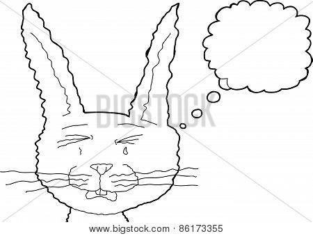 Sad Bunny Rabbit Outline