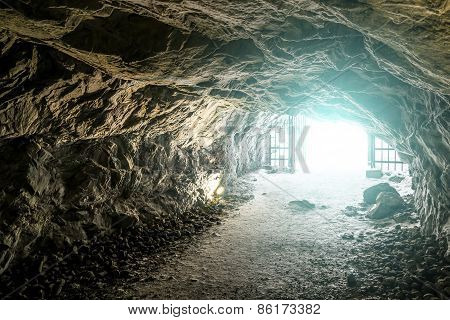 Bright Light At The End Of The Caves In The Mountain Park Of Ruskeala In Karelia, Russia