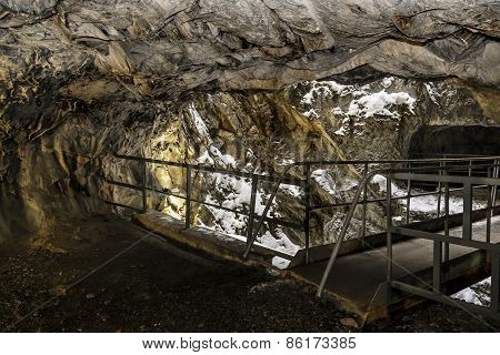 An Abandoned Tunnel In The Marble Quarry Ruskeala In Karelia, Russia