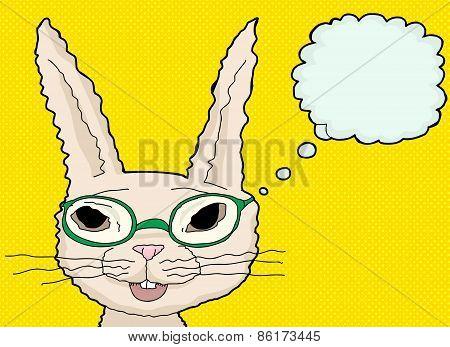 Happy Bunny In Green Glasses