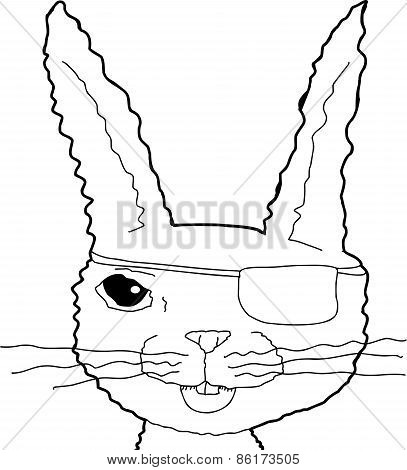 Outlined Cheerful Rabbit Pirate