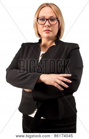 Photo business woman in glasses with arms crossed