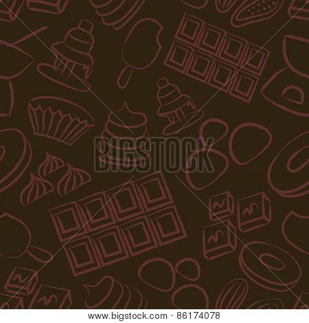 Sweet Chocolate Doodle Sketch Icons Seamless Pattern Eps10
