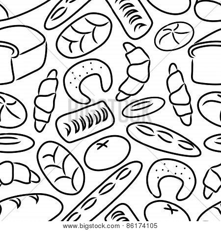Bakery Products Doodle Sketch Icons Seamless Pattern Eps10