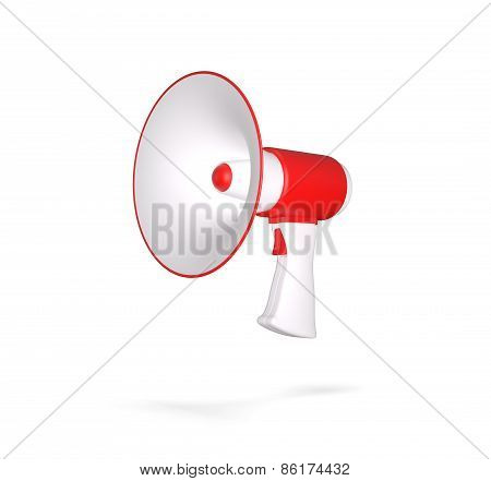 Retro megaphone isolated on white. 3d render illustration