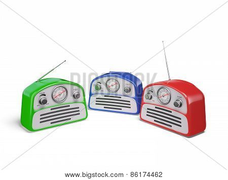 Old colourful vintage retro style radio receivers isolated on white background