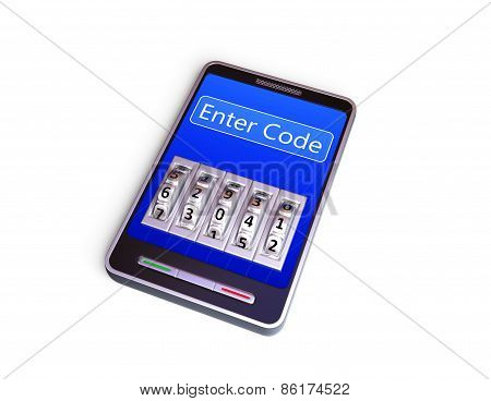 Smartphone with code lock. 3d render. Isolated on white