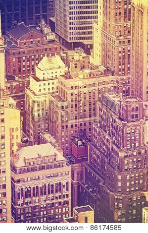 Vintage Old Film Stylized Aerial Picture Of New York City Downtown, Usa.