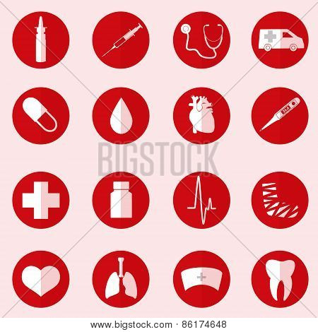 Hospital And Medical Icons Set In Red Circle Eps10