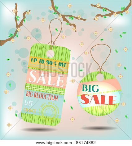 Two, spring, green, isolated, romantic stickers with pattern, text Sale. Background with branches wi