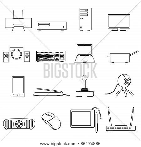 Computer Peripherals simple Outline Icons Set Eps10