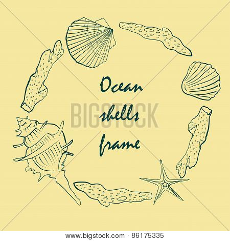 card with sea shells on the sea background