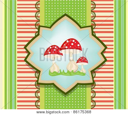 Beautiful striped and dotted card with three red toadstools and green grass, retro design