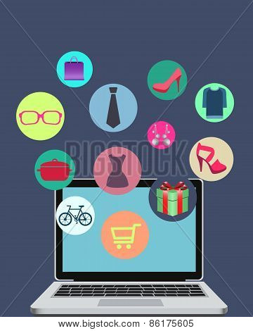 Shopping online through the mobile phone. Phone with dresses, shoes and tie. Vector illustration