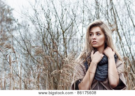 portrait of a beautiful girl with blue eyes in a grey jacket in the field among trees and tall dry