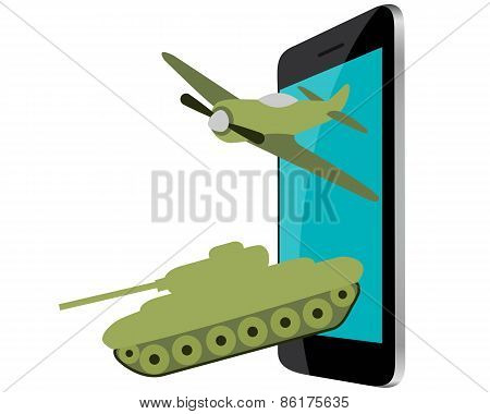 Online Games. Mobile phone with military aircraft and tanks. Vector illustration