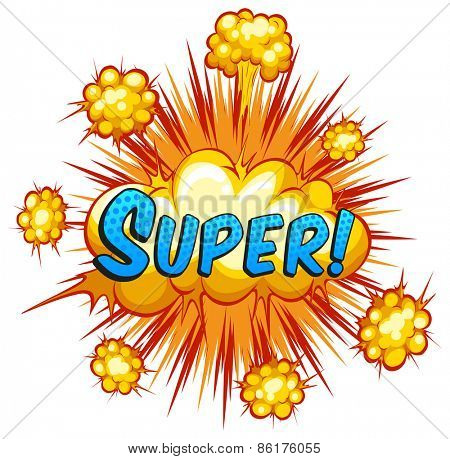 Word super with cloud explosion background