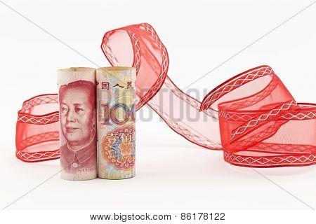 Yuan Currency With Red Ribbon
